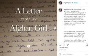アフガニスタンに住む少女から届いた手紙(画像は『Angelina Jolie 2021年8月20日付Instagram「This is a letter I was sent from a teenage girl in Afghanistan.」』のスクリーンショット)