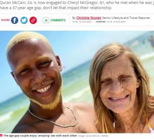 61歳女性と婚約した24歳男性「人がどう判断しようと気にしない」「最高に幸せ」(米)