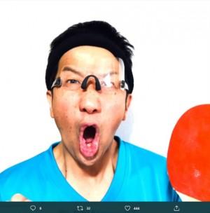 【エンタがビタミン♪】波田陽区、卓球男子銅メダルに「やったー!!」 顔マネの水谷隼選手と過去に2ショットも