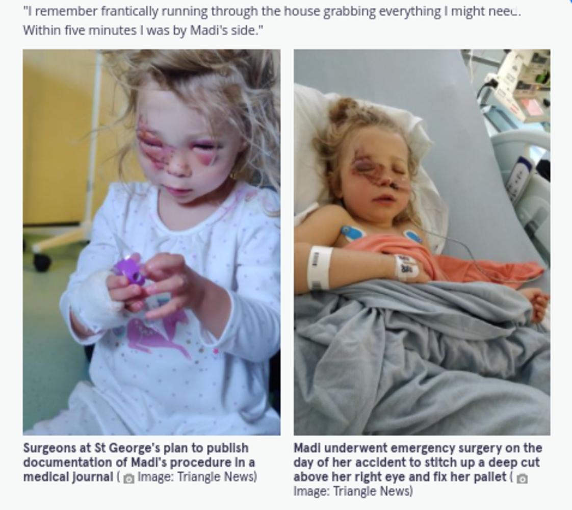 入院中のマディソンちゃん(画像は『The Mirror 2021年9月4日付「Girl, 2, fights for life after being kicked in face by horse while walking with dad」(Image: Triangle News)』のスクリーンショット)
