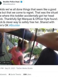 【海外発!Breaking News】柵に挟まった頭が抜けず 好奇心旺盛な3歳女児を警察官が救出(米)<動画あり>