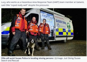 【海外発!Breaking News】捜索救助犬の資格を得て7時間半後、行方不明者を見事発見したボーダーコリー(英)