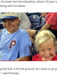 【海外発!Breaking News】ファールボールをゲットした10歳男児が泣いていた女児にプレゼント 純粋な優しさが感動呼ぶ(米)<動画あり>