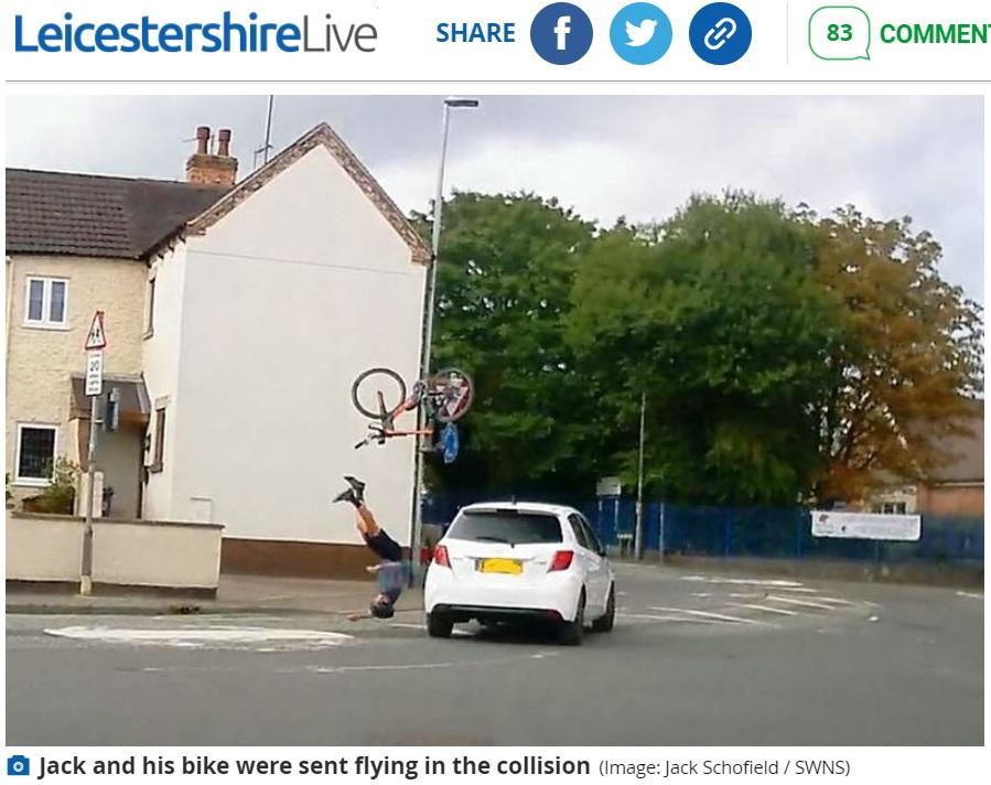 【海外発!Breaking News】逆走車と衝突したトライアスロン選手 自転車が宙を舞う衝撃の瞬間(英) | Techinsight(テックインサイト)|海外セレブ、国内エンタメのオンリーワンをお届けするニュースサイト