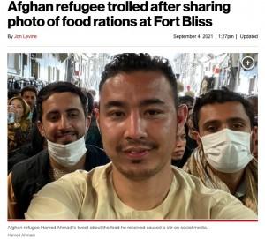 質素な食事の写真を投稿したハメド・アフマディさん(画像は『New York Post 2021年9月4日付「Afghan refugee trolled after sharing photo of food rations at Fort Bliss」』のスクリーンショット)