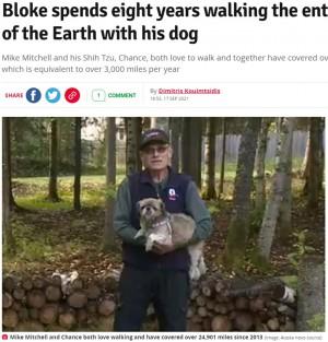 【海外発!Breaking News】散歩好きが高じて愛犬と毎日何度も歩いた男性、8年で地球1周分の距離に到達(米)