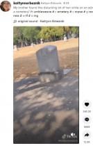 古いお墓のコンクリートの割れ目から飛び出した黒髪 「いったい何が?」(米)<動画あり>