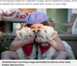 【海外発!Breaking News】片目しか見えない2匹のきょうだい犬、安楽死寸前のところを保護され元気いっぱいに