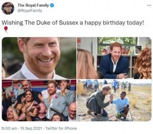 思い出の写真とともにヘンリー王子の誕生日を祝福したエリザベス女王(画像は『The Royal Family 2021年9月15日付Twitter「Wishing The Duke of Sussex a happy birthday today!」』のスクリーンショット)