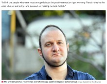 【海外発!Breaking News】奇妙な髪型「サークル・ヘア」で注目の男性、笑いを誘うも全てはがん治療の子供達の為(英)