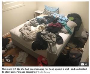 荒れ放題だったラクランさんのベッド(画像は『The Sun 2021年10月6日付「SQUEAK-Y CLEAN Mum tricks 'lazy' son into cleaning his bedroom by hiding 'mice POO' in it - and it works」(Credit: Mercury)』のスクリーンショット)