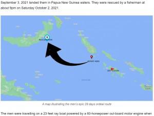1か月の漂流で、隣国パプアニューギニアに流れ着いた(画像は『SIBC 2021年10月6日付「Nanjikana and Qoloni epic survival story」』のスクリーンショット)