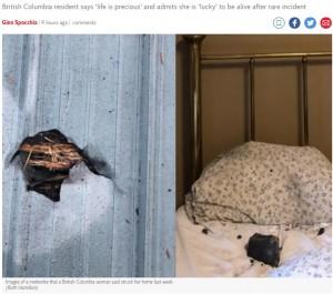 左写真は屋根の穴、右写真は落下当時の隕石(画像は『The Independent 2021年10月12日付「Rock that crashed through roof on to sleeping woman's bed could have been meteorite, she says」(Ruth Hamilton)』のスクリーンショット)