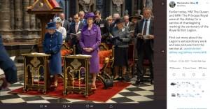 礼拝堂でのエリザベス女王とアン王女(画像は『Westminster Abbey 2021年10月12日付Twitter「Earlier today, HM The Queen and HRH The Princess Royal were at the Abbey for a service of thanksgiving marking the centenary of the Royal British Legion.」』のスクリーンショット)