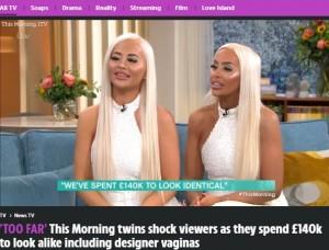 【海外発!Breaking News】2100万円以上を費やし、胸や性器までそっくりに整形を続ける双子姉妹(英)