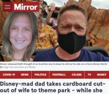 【海外発!Breaking News】ディズニー大好き愛妻家、仕事で行けない妻を顔パネルにしてディズニーワールドへ(米)